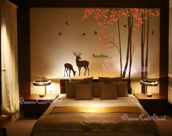 Nature forest-nursery wall decal baby wall decal children wall decal room vinyl decal stickers nature trees decal with deer-DK063