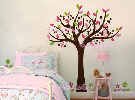 Art culos similares a rbol de dibujos animados con b ho for Stickers para decorar habitaciones