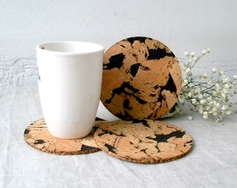 Wooden Cork Coasters, Rustic Wooden Coasters Set of 4, Round Trivets, Black