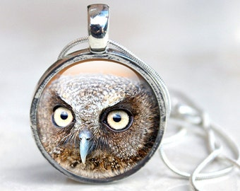 Glass Pendant Necklace, Owl Pendant Necklace in silver Picture Necklace Photo Pendant