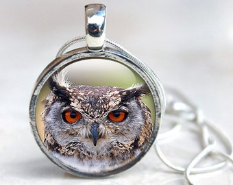 Bird Pendant - Owl Glass Pendant - Bird Photo Pendant - Animal Glass Pendant - Owl Pendant (BPO1)