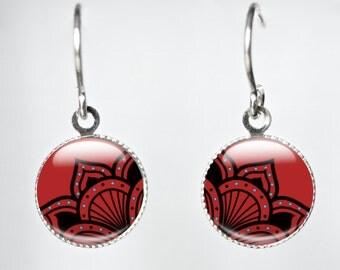 Red Glass Earrings - Red Drop Earrings - Red Dangle Earrings - Red Glass Jewelry (red 5)