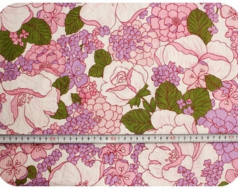 Floral retro vintage rose fabric - pink, purple, green and white