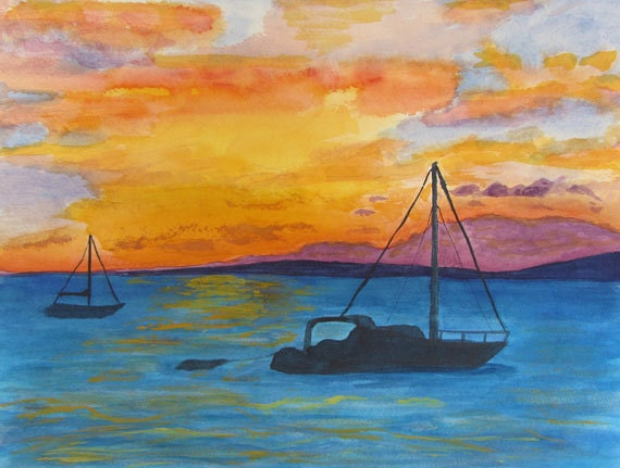 Sail Boats in Maui, Original Watercolor by Kathy Olson