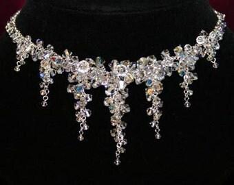 Crystal Cluster Bridal Necklace BS-216 - Swarovski Crystal & Sterling Silver