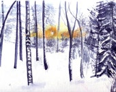Landscape Watercolour Artwork Cards Four Winter Sun in Forest Blank Notecards