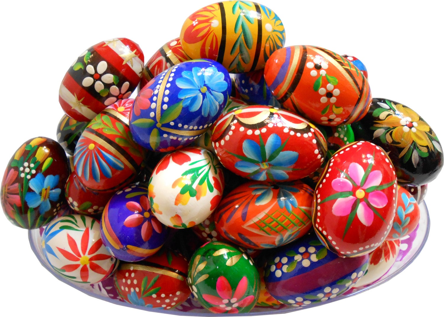 Set of 3 polish easter painted wooden eggs by tasteofpoland - Painted wooden easter eggs ...