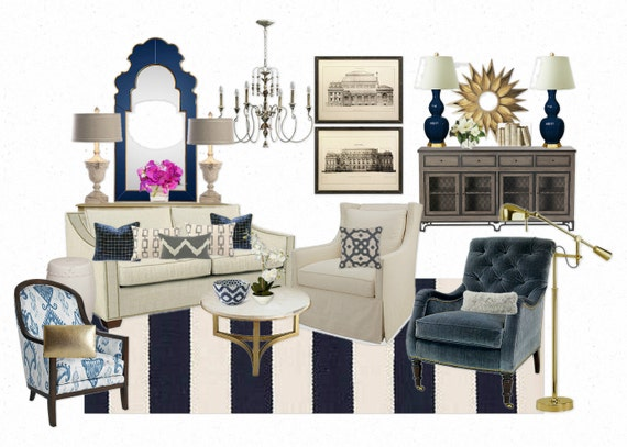 Unavailable listing on etsy for Navy blue and cream living room ideas