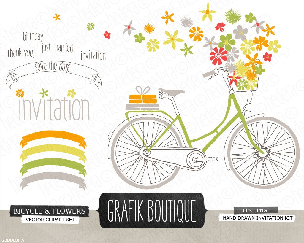 Flower Baskets Vector : Bicycle basket with wild flowers hand drawn vector bike clip