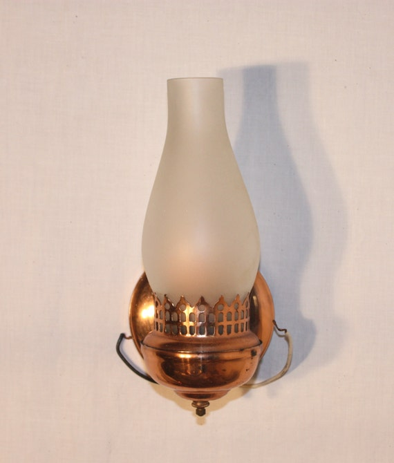 Used Electric Wall Sconces : 2 used copper electric wall lights that look like oil lamps