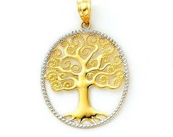 14K Gold Two-tone Tree of Life Oval Pendant