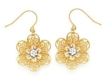 14K gold Two-tone Filigree Flower Earring