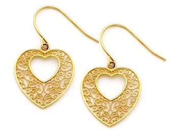 14K gold Filigree Heart Earring on Fish Hook Wires