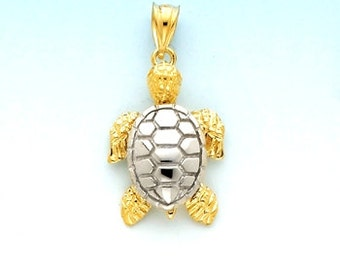 14k gold Two Tone Turtle charm
