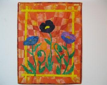 """Art Quilt - """"Blue Poppies"""""""