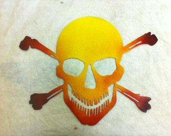 12 inch Flaming Skull and Crossbones Jolly Roger Metal Steel Pirate Wall Biker Art
