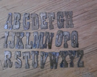 4 inch Letters Alphabet PER LETTER or NUMBER Rusty Vintage Western Style Metal Steel Wall Art Ornament Craft Stencil Diy Sign