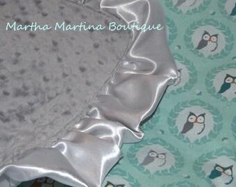 Luxurious Minky Blanket, Satin Ruffle, 'Aqua Owls', Aqua, Grey, Owls