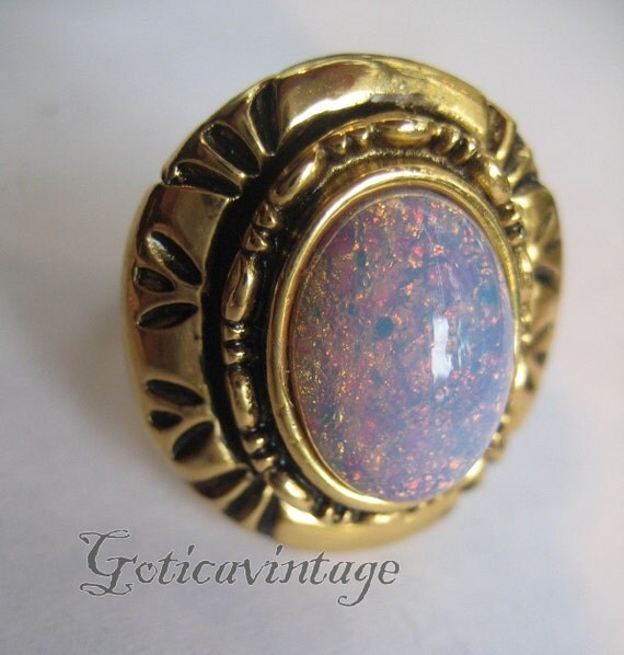 Items Similar To Opal Ring Exquisite Braided Opal: Items Similar To Prage Czech Opal Ring Faux Opal On Etsy