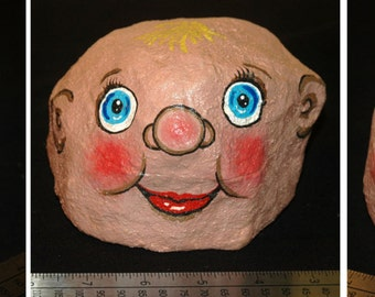 art, Baby Head painted rock