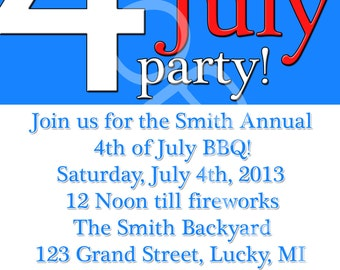 Fourth 4th of July BBQ Family Party Invitation Traditional Style You Print Digital File