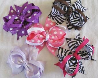 Polka Dot & Zebra Print Mini Hair Bows