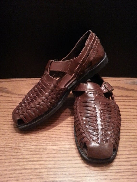 genuine leather mens brown huarache sandal shoe with