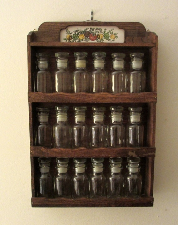 Vintage Wall Hung Wooden Spice Rack With 18 Apothecary Style