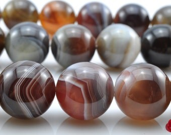 27 pcs of Natural Botswana Agate smooth round beads in 14mm (0555#)
