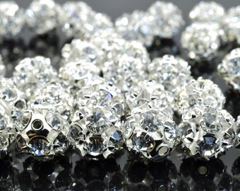 50 pcs of Silver plated Rhinestone round beads in 8mm