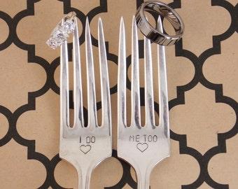 I do/ Me too Fork Set - Hand Stamped, Wedding Gift, Wedding Forks