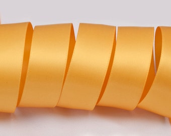 "Gold Ribbon, Double Faced Satin Ribbon, Widths Available: 1 1/2"", 1"", 6/8"", 5/8"", 3/8"", 1/4"", 1/8"""