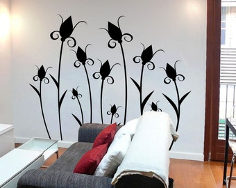Flower Butterfly Wall Decal Cute Vinyl Sticker Home Arts Floral Wall Decals Swirl  WT049