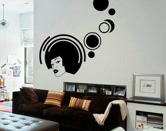 Retro Girl Wall Decal Cute Vinyl Sticker Home Arts Music Wall Decals Polka Dots WT056
