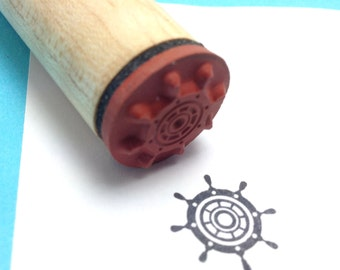 Sailor, Pirate, Nautical Rubber Stamp, Ships Wheel