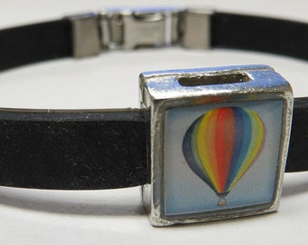 Rainbow Hot Air Balloon Link With Choice Of Colored Band Charm Bracelet
