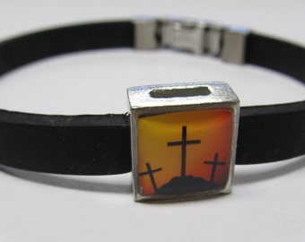 Religious Crosses Link With Choice Of Colored Band Charm Bracelet