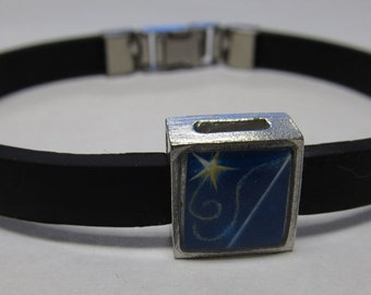Magic Wand And Star Link With Choice Of Colored Band Charm Bracelet