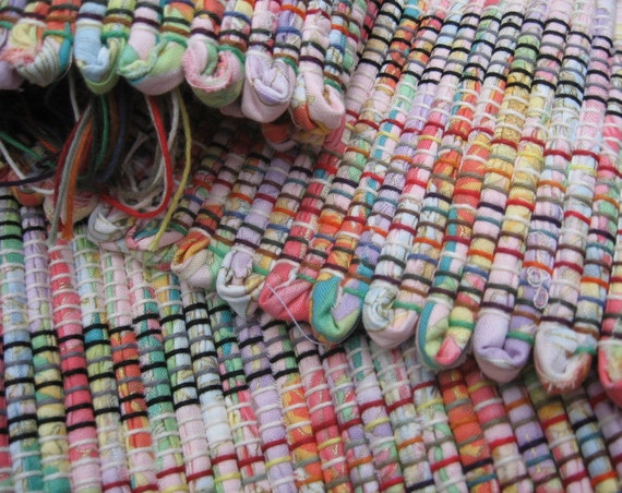 "Summertime rag rug 36"" x 26"" handwoven rug bright pink green lavender yellow orange cotton fabric throw rug fringes112"