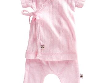 100% Organic Preemie TShirt & Pant Set  (Pink )