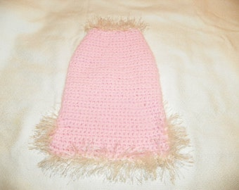 Pink Dog Sweater with a Ivory Fur Trim   Size XSmall-XXLarge