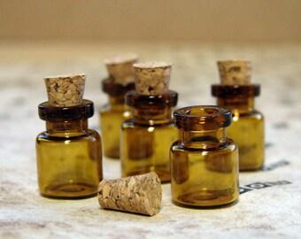 Mini Amber Apothecary Glass Bottles, Set of 5