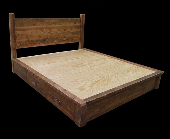 Reclaimed Wood 4 Drawer Platform Dresser Bed by MistyMtnFurn