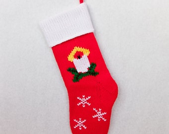 Hand-knitted Personalized Christmas Stockings: Candle