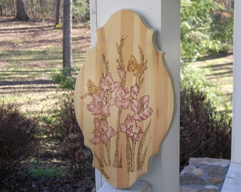 Iris And Butterfly Woodburning Pyrography