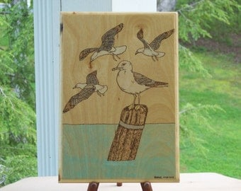 Herring Gull  Woodburning Pyrography