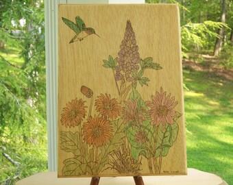 Ruby Throated Hummingbird In Flower Garden Woodburning Pyrography