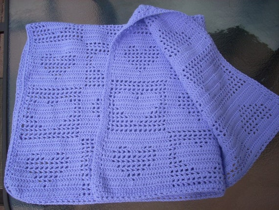 Valentines SALE : Filet Crochet Tender Hearts Baby or Lap