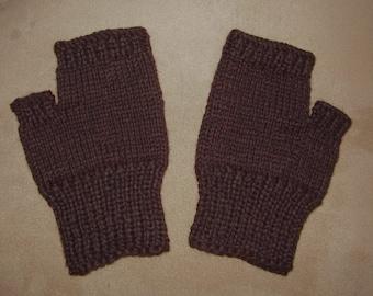 Hand knit Fingerless Gloves - Black