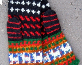 Colorful original patterned knitted mittens inspired from Latvian etnography